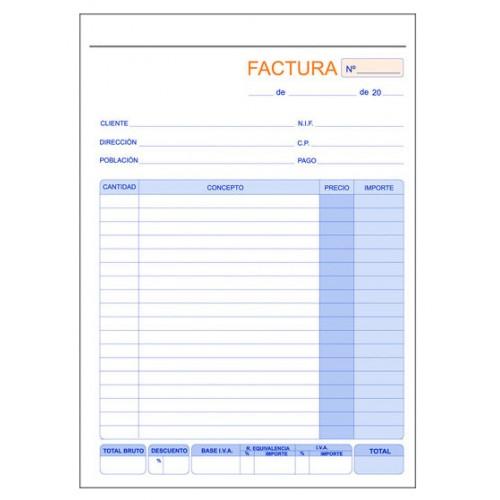 talonario factura duplicado marino en formato folio natural de