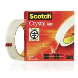 Cinta adhesiva supertransparente 3m scotch crystal de 19 mm. x 66 mts.