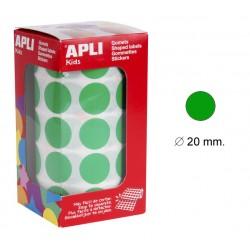 Gomet apli en formato redondo de 20 mm. de diámetro en color verde, rollo de 1.770 uds.