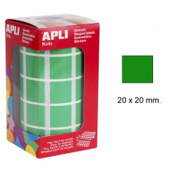 Gomet apli en formato cuadrado de 20x20 mm. de diámetro en color verde, rollo de 1.770 uds.