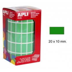 Gomet apli en formato rectangular de 20x10 mm. en color verde, rollo de 3.540 uds.