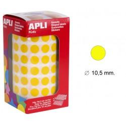 Gomet apli en formato redondo de 10,5 mm. de diámetro en color amarillo, rollo de 5.192 uds.