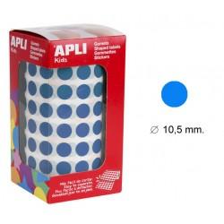 Gomet apli en formato redondo de 10,5 mm. de diámetro en color azul, rollo de 5.192 uds.