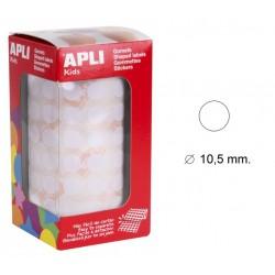 Gomet apli en formato redondo de 10,5 mm. de diámetro en color blanco, rollo de 5.192 uds.