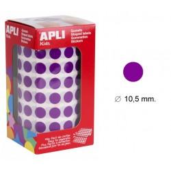 Gomet apli en formato redondo de 10,5 mm. de diámetro en color lila, rollo de 5.192 uds.