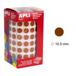 Gomet apli en formato redondo de 10,5 mm. de diámetro en color marrón, rollo de 5.192 uds.