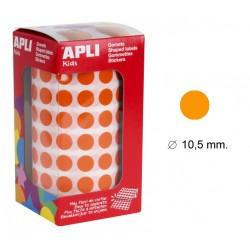 Gomet apli en formato redondo de 10,5 mm. de diámetro en color naranja, rollo de 5.192 uds.