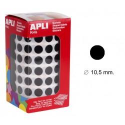 Gomet apli en formato redondo de 10,5 mm. de diámetro en color negro, rollo de 5.192 uds.