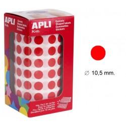 Gomet apli en formato redondo de 10,5 mm. de diámetro en color rojo, rollo de 5.192 uds.