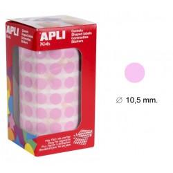 Gomet apli en formato redondo de 10,5 mm. de diámetro en color rosa, rollo de 5.192 uds.