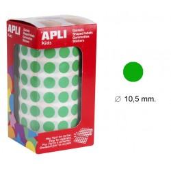 Gomet apli en formato redondo de 10,5 mm. de diámetro en color verde, rollo de 5.192 uds.