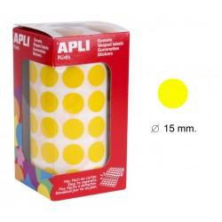 Gomet apli en formato redondo de 15 mm. de diámetro en color amarillo, rollo de 2.832 uds.