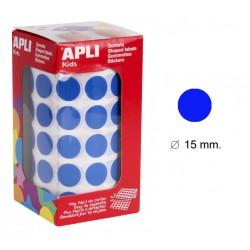 Gomet apli en formato redondo de 15 mm. de diámetro en color azul, rollo de 2.832 uds.