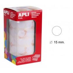 Gomet apli en formato redondo de 15 mm. de diámetro en color blanco, rollo de 2.832 uds.