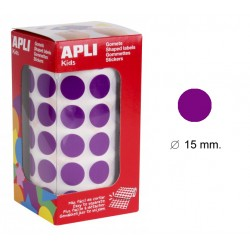 Gomet apli en formato redondo de 15 mm. de diámetro en color lila, rollo de 2.832 uds.