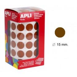 Gomet apli en formato redondo de 15 mm. de diámetro en color marrón, rollo de 2.832 uds.
