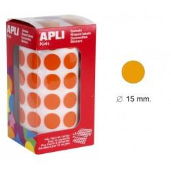 Gomet apli en formato redondo de 15 mm. de diámetro en color naranja, rollo de 2.832 uds.