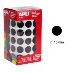 Gomet apli en formato redondo de 15 mm. de diámetro en color negro, rollo de 2.832 uds.