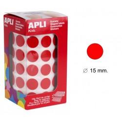 Gomet apli en formato redondo de 15 mm. de diámetro en color rojo, rollo de 2.832 uds.