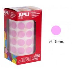 Gomet apli en formato redondo de 15 mm. de diámetro en color rosa, rollo de 2.832 uds.