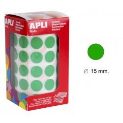 Gomet apli en formato redondo de 15 mm. de diámetro en color verde, rollo de 2.832 uds.