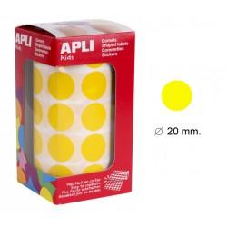 Gomet apli en formato redondo de 20 mm. de diámetro en color amarillo, rollo de 1.770 uds.