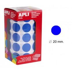 Gomet apli en formato redondo de 20 mm. de diámetro en color azul, rollo de 1.770 uds.