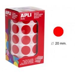 Gomet apli en formato redondo de 20 mm. de diámetro en color rojo, rollo de 1.770 uds.
