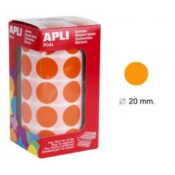 Gomet apli en formato redondo de 20 mm. de diámetro en color naranja, rollo de 1.770 uds.