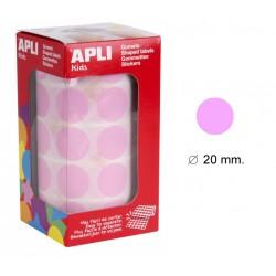 Gomet apli en formato redondo de 20 mm. de diámetro en color rosa, rollo de 1.770 uds.