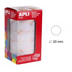 Gomet apli en formato redondo de 20 mm. de diámetro en color blanco, rollo de 1.770 uds.