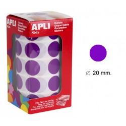 Gomet apli en formato redondo de 20 mm. de diámetro en color lila, rollo de 1.770 uds.