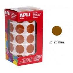 Gomet apli en formato redondo de 20 mm. de diámetro en color marrón, rollo de 1.770 uds.