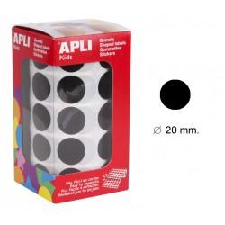 Gomet apli en formato redondo de 20 mm. de diámetro en color negro, rollo de 1.770 uds.