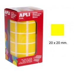 Gomet apli en formato cuadrado de 20x20 mm. en color amarillo, rollo de 1.770 uds.