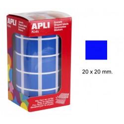 Gomet apli en formato cuadrado de 20x20 mm. en color azul, rollo de 1.770 uds.