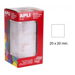 Gomet apli en formato cuadrado de 20x20 mm. en color blanco, rollo de 1.770 uds.