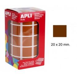 Gomet apli en formato cuadrado de 20x20 mm. en color marrón, rollo de 1.770 uds.