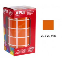 Gomet apli en formato cuadrado de 20x20 mm. en color naranja, rollo de 1.770 uds.