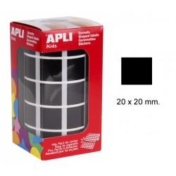 Gomet apli en formato cuadrado de 20x20 mm. en color negro, rollo de 1.770 uds.