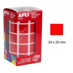 Gomet apli en formato cuadrado de 20x20 mm. en color rojo, rollo de 1.770 uds.