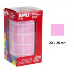 Gomet apli en formato cuadrado de 20x20 mm. en color rosa, rollo de 1.770 uds.