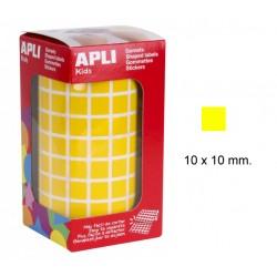 Gomet apli en formato cuadrado de 10x10 mm. en color amarillo, rollo de 6.372 uds.