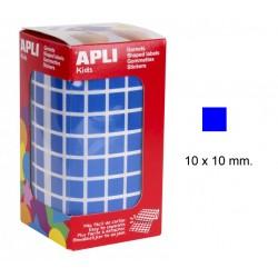Gomet apli en formato cuadrado de 10x10 mm. en color azul, rollo de 6.372 uds.