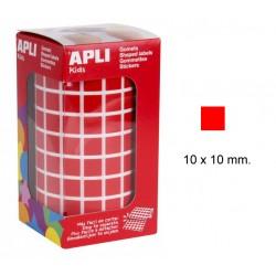 Gomet apli en formato cuadrado de 10x10 mm. en color rojo, rollo de 6.372 uds.