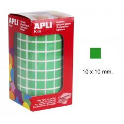 Gomet apli en formato cuadrado de 10x10 mm. en color verde, rollo de 6.372 uds.