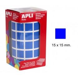 Gomet apli en formato cuadrado de 15x15 mm. en color azul, rollo de 2.832 uds.