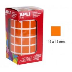 Gomet apli en formato cuadrado de 15x15 mm. en color naranja, rollo de 2.832 uds.