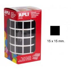 Gomet apli en formato cuadrado de 15x15 mm. en color negro, rollo de 2.832 uds.