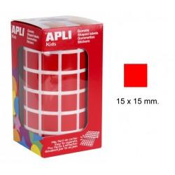 Gomet apli en formato cuadrado de 15x15 mm. en color rojo, rollo de 2.832 uds.